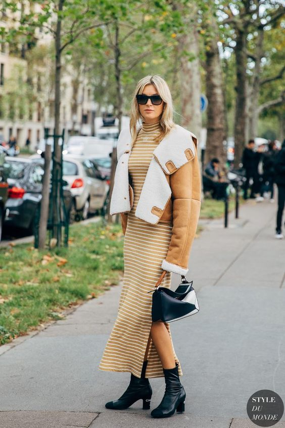 mock necks | yellow striped maxi sweater dress ankle boots fur-lined jacket | Girlfriend is Better