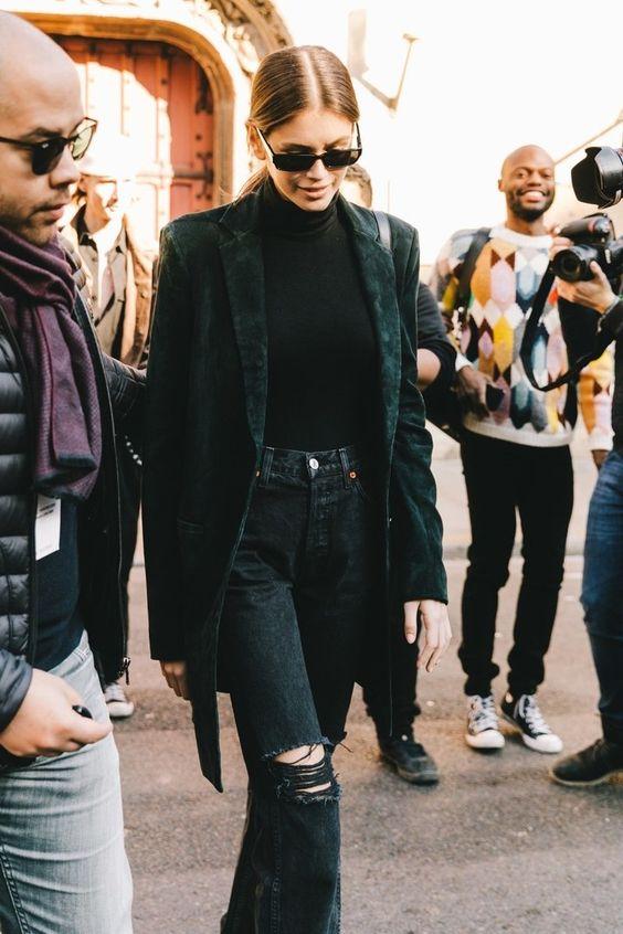 mock necks   all black monochromatic velvet blazer jacket distressed denim work wear   Girlfriend is Better
