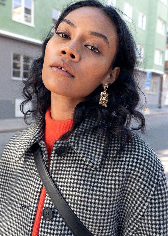 mock necks | red sweater houndstooth jacket statement earrings | Girlfriend is Better