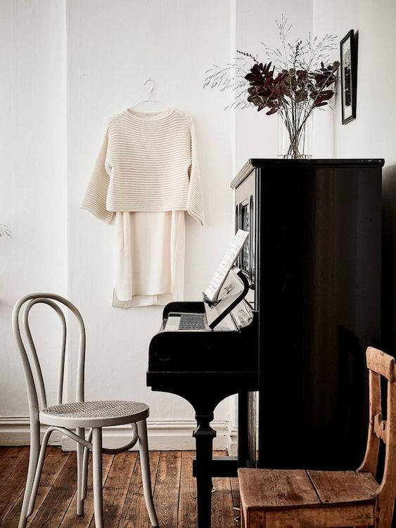 black upright pianos | vintage bentwood chairs Hygge entertaining | Girlfriend is Better