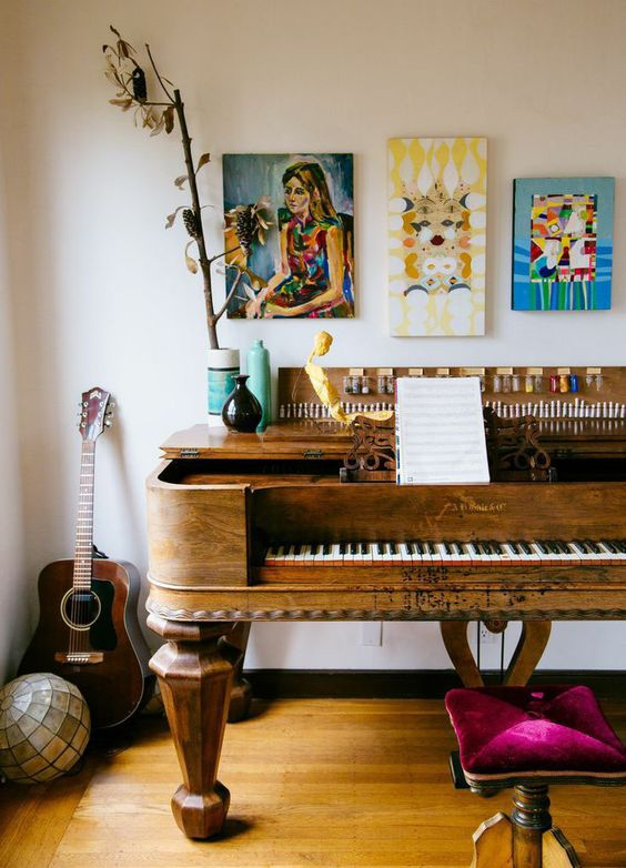 vintage Bohemian pianos | guitar gallery wall art sculptures eclectic creativity | Girlfriend is Better