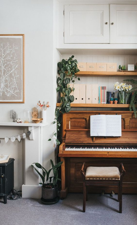 pianos | nook sheet music organization open shelving plants | Girlfriend is Better