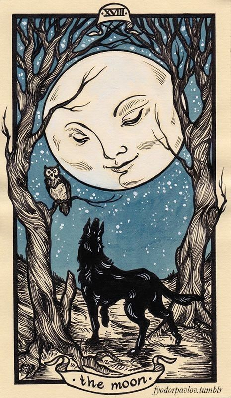tarot card art | moon illustration | Girlfriend is Better
