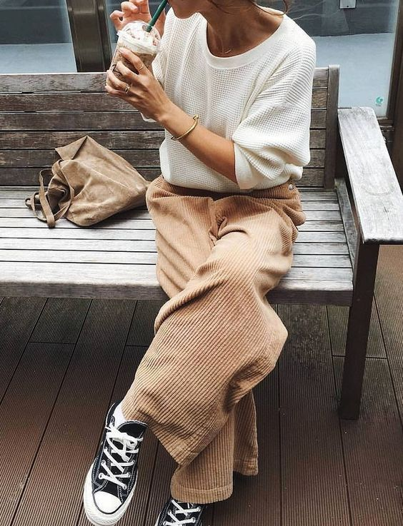 tennis shoes | black Converse All-Star low-top sneakers neutrals corduroy pants | Girlfriend is Better