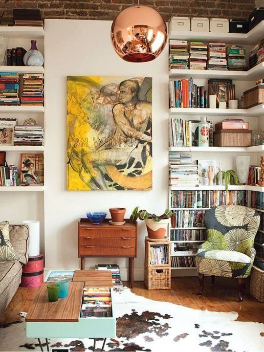 bookshelves | home library maximalism wingback chair abstract art Bohemian | Girlfriend is Better