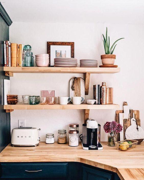 bookshelves | kitchen shelving open Smeg hygge hostess cookbooks organization | Girlfriend is Better