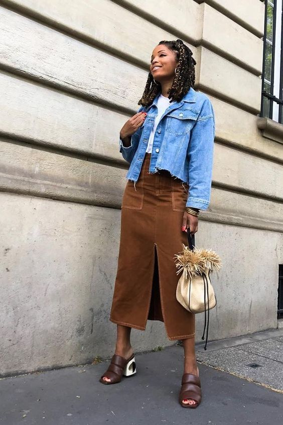 denim skirts | brown neutrals from slit jean jacket | Girlfriend is Better