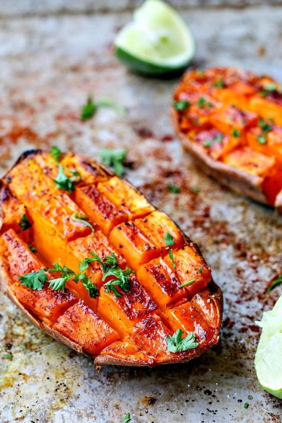 February's seasonal vegetables | chili honey roasted sweet potatoes lime recipe vegetarian | Girlfriend is Better