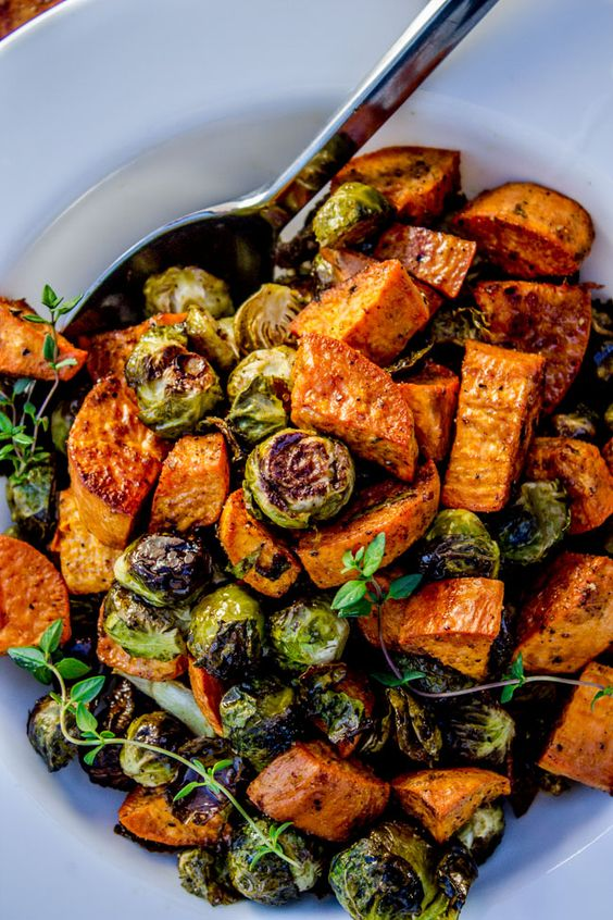 February's seasonal vegetables | roasted sweet potatoes Brussels sprouts thyme vegan vegetarian recipes | Girlfriend is Better