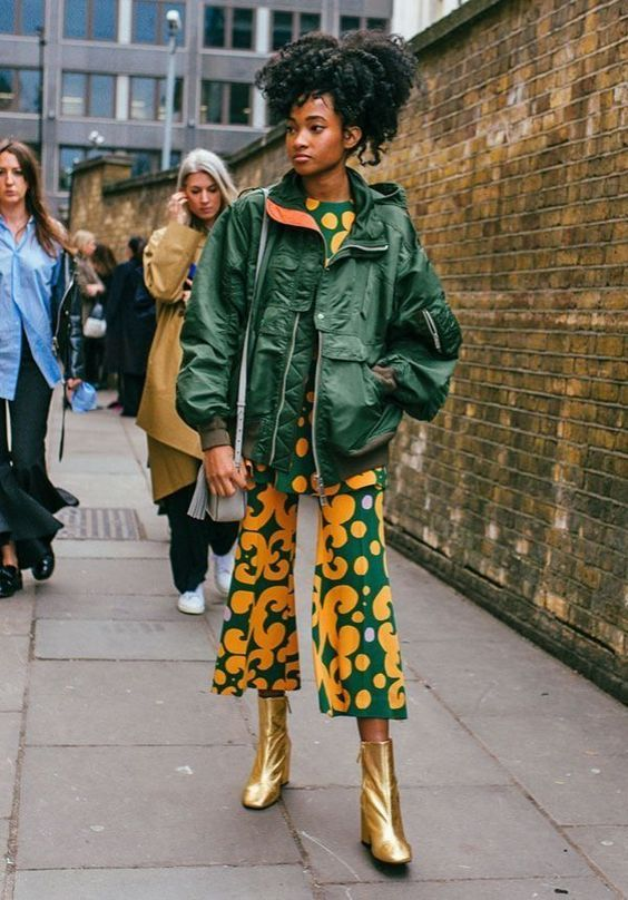gold boots | 70s print pant suit green jacket street style | Girlfriend is Better
