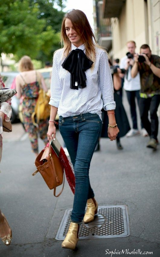 gold boots ankle | pussy bow blouse denim skinny jeans street style | Girlfriend is Better