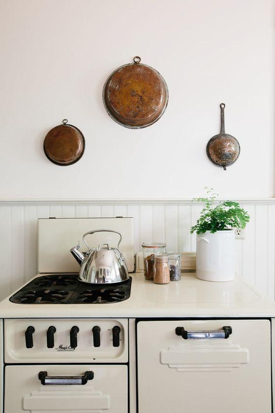 hygge hostess | vintage kitchen tea kettle hanging pots natural decor | Girlfriend is Better