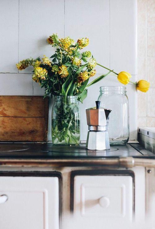 hygge hostess | yellow wildflowers espresso kettle vintage kitchen easy entertaining | Girlfriend is Better