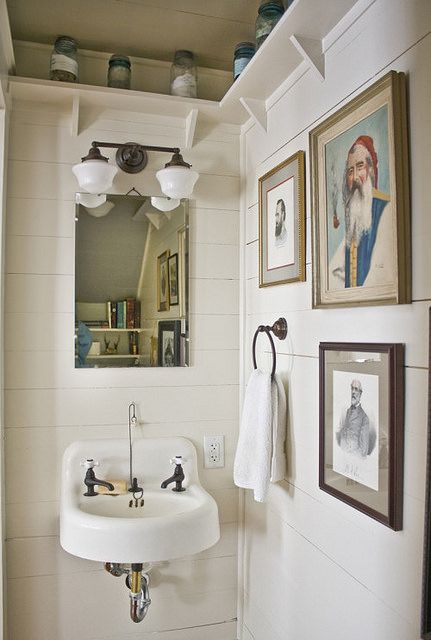 bathroom sinks   vintage French country gallery wall   Girlfriend is Better