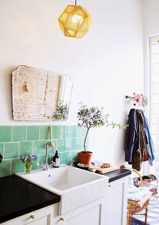 bathroom sinks | square French country green backsplash tile | Girlfriend is Better