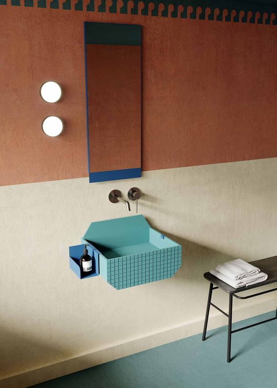 bathroom sinks | American Pop artist retro architecture teal desert vibes | Girlfriend is Better