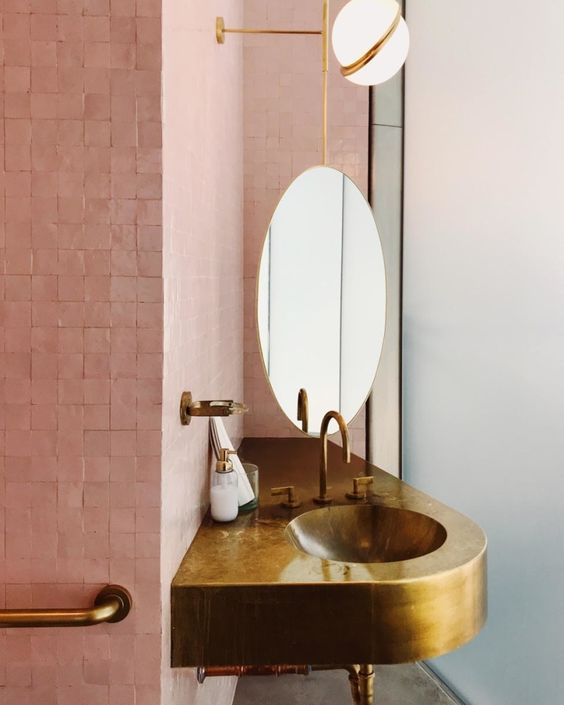 bathroom sinks | gold brass abstract shape pink tile | Girlfriend is Better