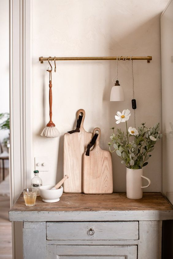 kitchen utility hooks | hygge hostess vintage counter cutting boards hanging rack | Girlfriend is Better