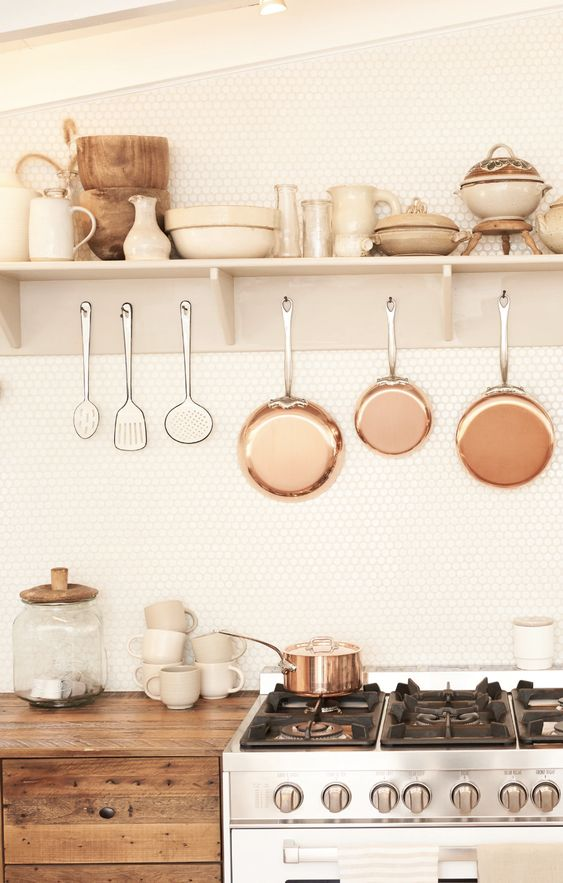 kitchen utility hooks | hanging copper pots pans cooking utensils stove hygge | Girlfriend is Better