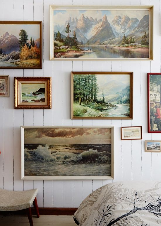 landscape paintings   gallery wall vintage art collection   Girlfriend is Better