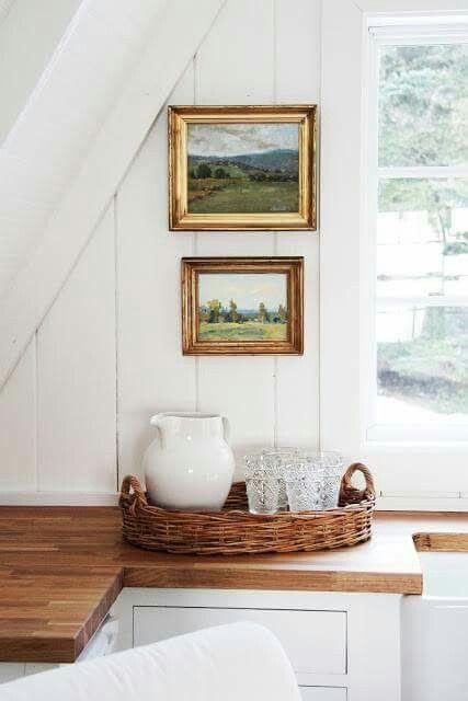 landscape paintings | Hygge hostess vignette kitchen window vintage frames | Girlfriend is Better