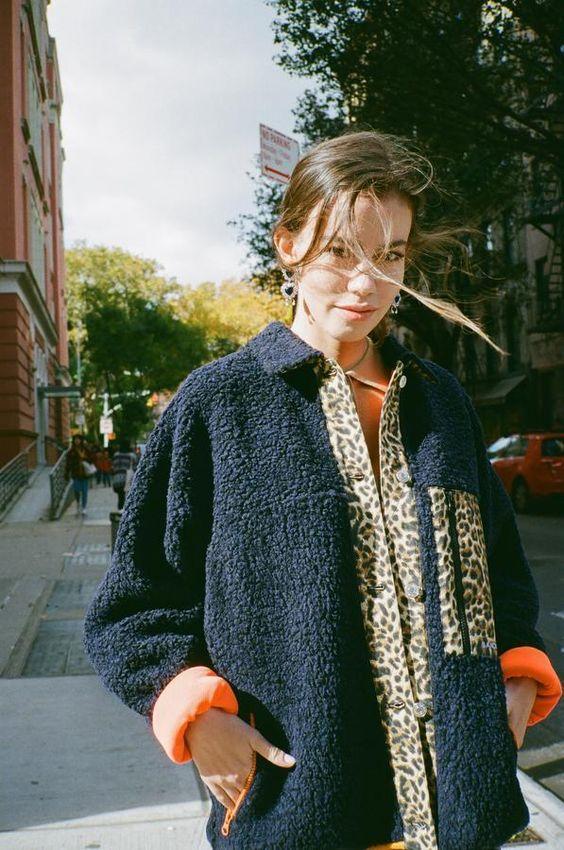 leopard print | black teddy bear coat bright orange lining | Girlfriend is Better