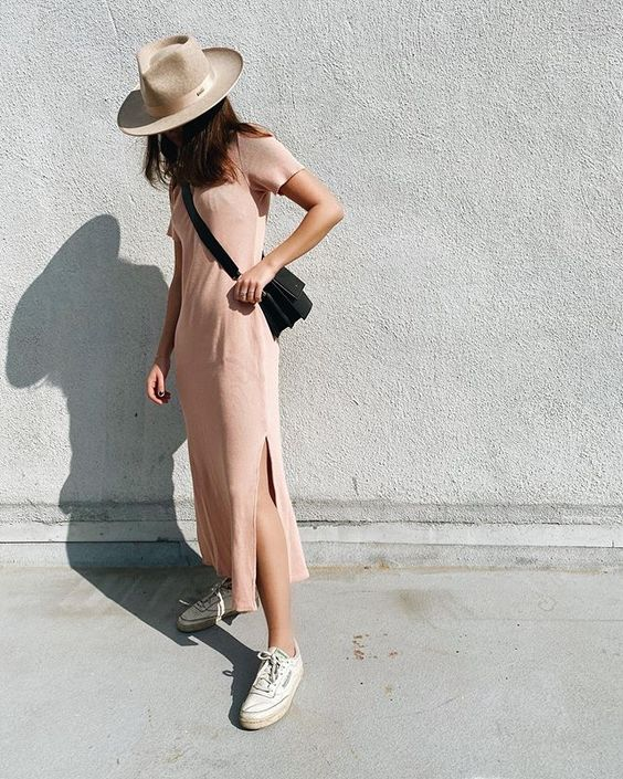 loungewear | cotton tee shirt dress tennis shoes | Girlfriend is Better