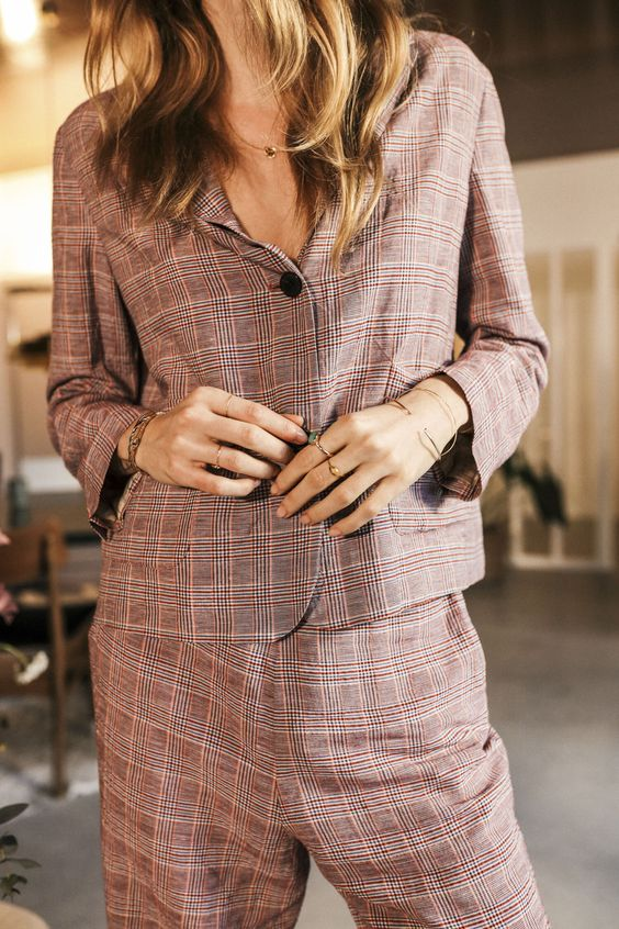loungewear | work wear pant suit home office plaid blazer linen loose fit | Girlfriend is Better