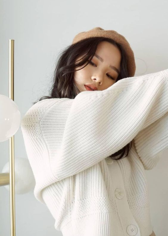 loungewear   white cotton sweater button front cropped dropped shoulder seams   Girlfriend is Better