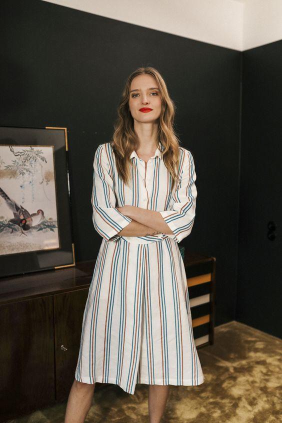 loungewear | work wear button front striped cotton midi dress