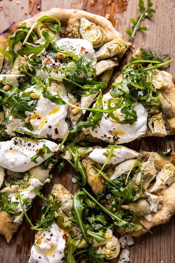 March's seasonal vegetables   Artichoke Pesto Burrata Pizza Arugula recipe   Girlfriend is Better