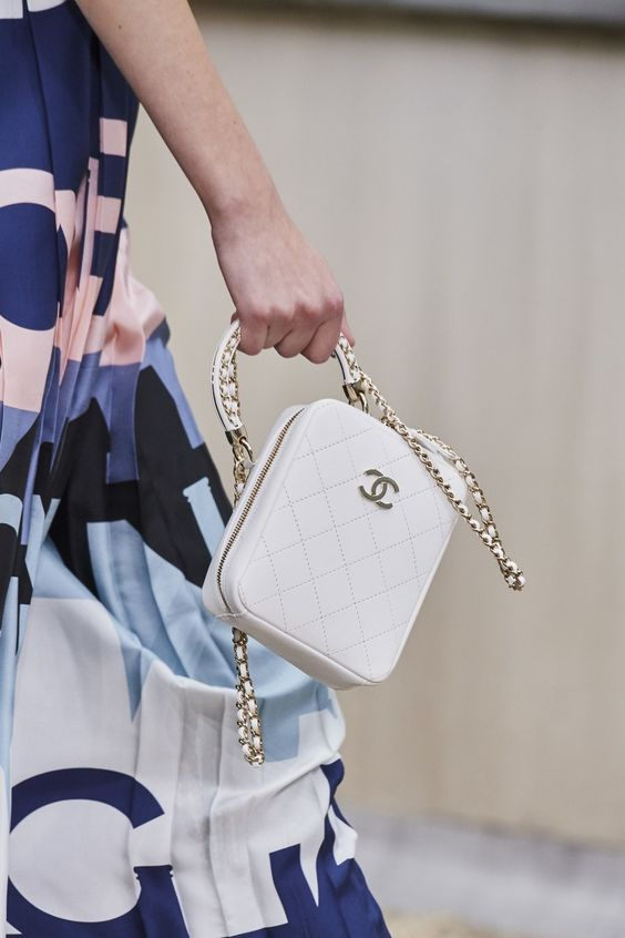 retro romance | Chanel white handbag quilted leather chain strap top handle purses | Girlfriend is Better