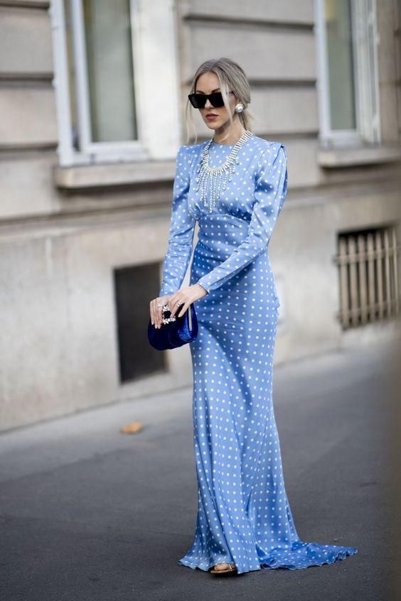 retro romance | Victorian Edwardian maxi dress puff shoulders polka dot blue | Girlfriend is Better