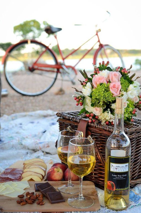 Spring picnic | bicycle basket wine cheese board | Girlfriend is Better