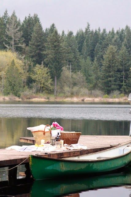 Spring picnic | lake boat dock basket outdoors family | Girlfriend is Better