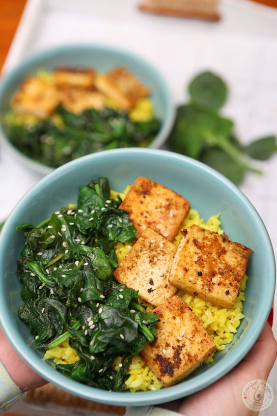April seasonal vegetables | spinach tofu turmeric rice
