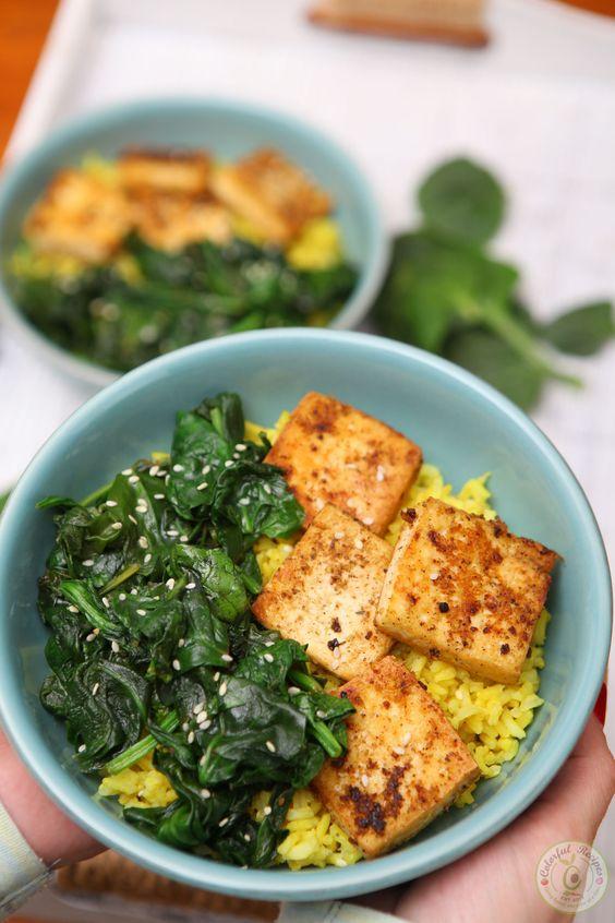 April seasonal vegetables | spinach tofu turmeric rice