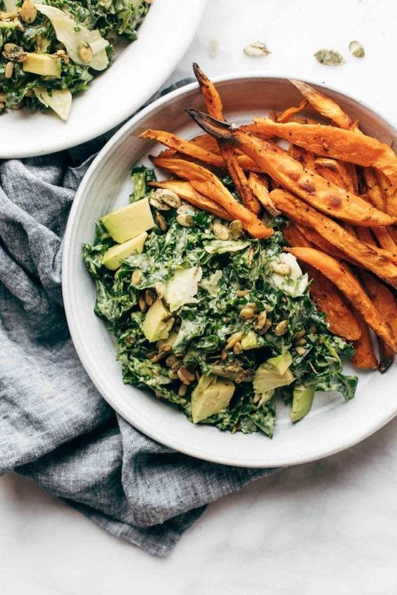 April seasonal vegetables | avocado kale caesar salad sweet potato fries Vitamin K dark greens | Girlfriend is Better