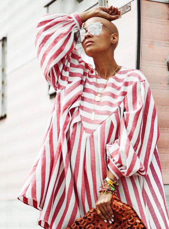 balloon sleeves   striped voluminous dress spring fashion   Girlfriend is Better