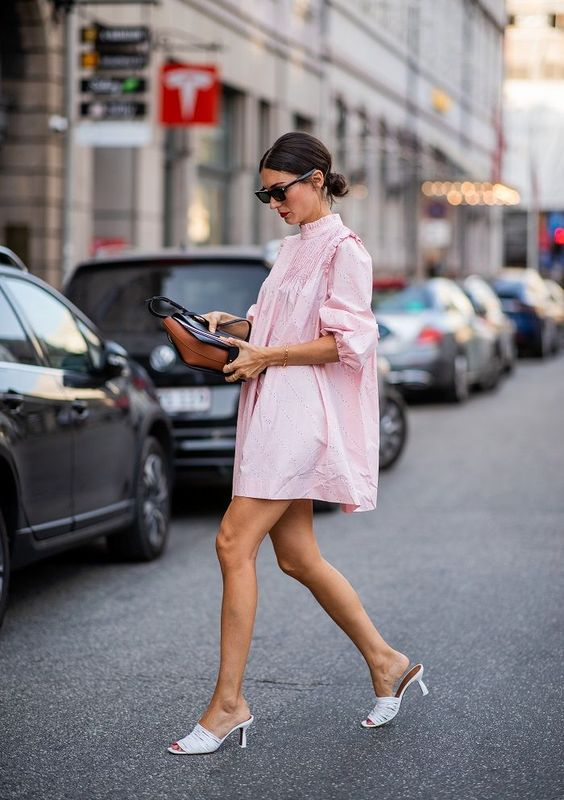 balloon sleeves | pink voluminous cotton dress tuxedo collar | Girlfriend is Better