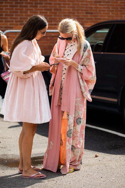 balloon sleeves | light pink voluminous dress flip flops | Girlfriend is Better