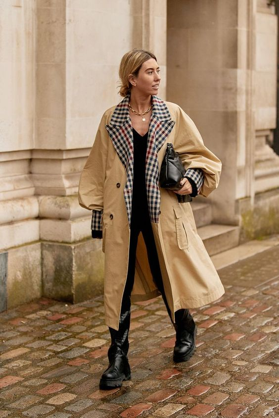 balloon sleeves | puff sleeve trench coat modern grunge black boots oversized clutch | Girlfriend is Better