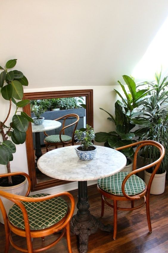 bistro tables | French country horseshoe rattan chairs marble | Girlfriend is Better