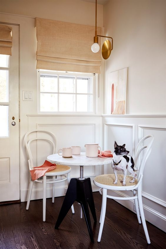 bistro tables | French country bentwood chairs caned seat window nook | Girlfriend is Better