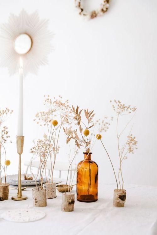 hygge tablescapes | vintage amber glassware bottle candlestick sunburst mirror wildflowers | Girlfriend is Better