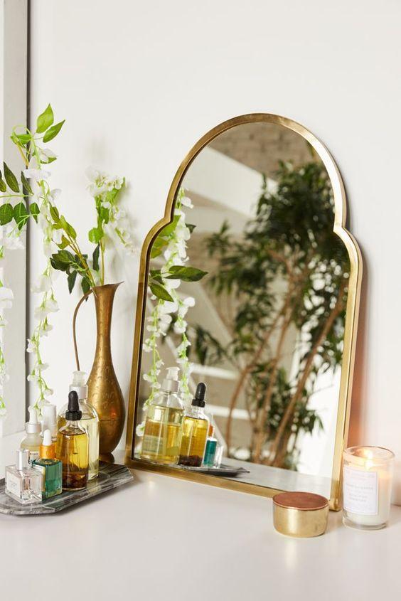 mirror Feng Shui | geometric bathroom vanity houseplants Bohemian | Girlfriend is Better