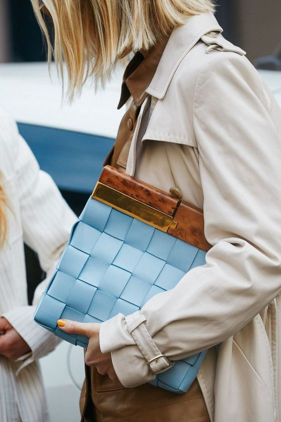 oversized woven purses | baby blue top handle purse square maxi weave | Girlfriend is Better