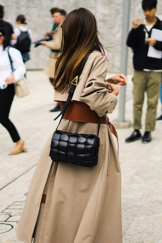 oversized woven purses | square maxi weave padded leather crossbody bag black trench coat | Girlfriend is Better