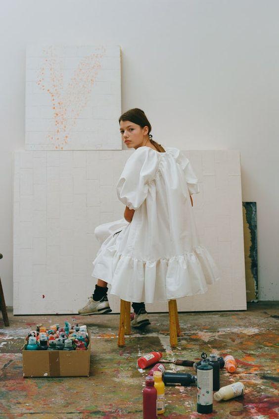 plain white dress | ruffles oversized baby doll balloon sleeves | Girlfriend is Better