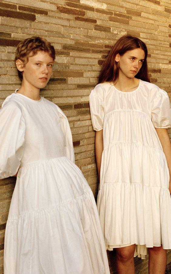 plain white dress | tiered layers ruffles baby doll puff sleeves satin silk | Girlfriend is Better